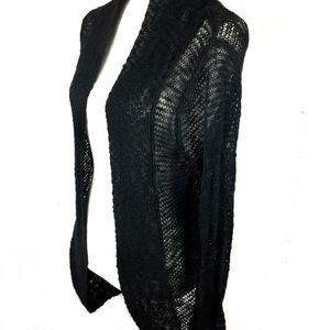 Roxy Cardigan Sweater Sz L Black Open Front NWT